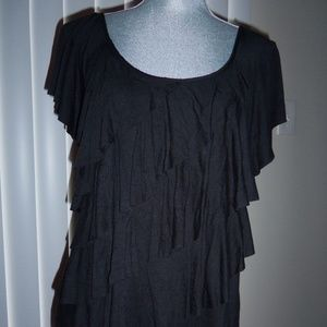 AGB Black Short Sleeved Ruffle Top Size L